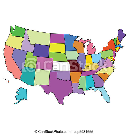 Color map of usa. on