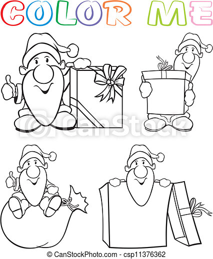 coloring page for kids christmas coloring page holiday cartoon of santa with a bag of gifts