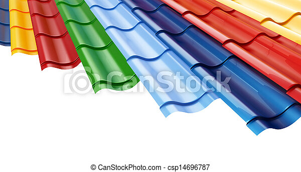 Color Metal Roof Tile on a white background  - csp14696787
