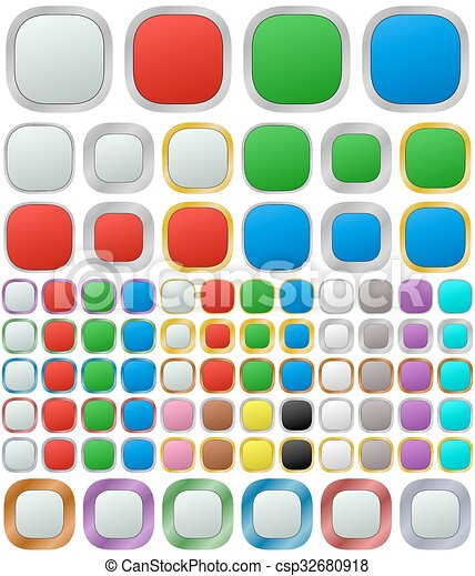 Color metallic rounded square button set - csp32680918