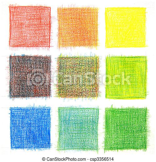 color, mezcla, plano de fondo, lápices - csp3356514