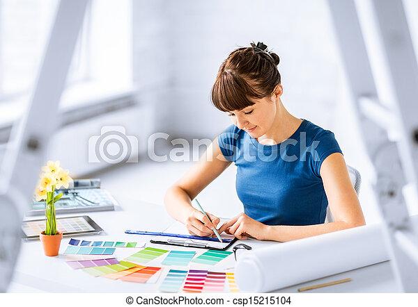 color, mujer, selección, muestras, trabajando - csp15215104