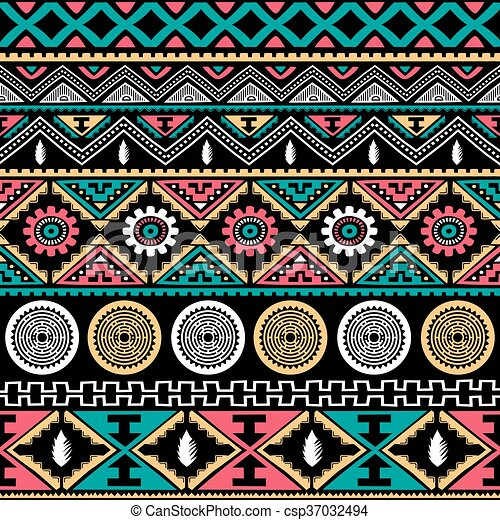 color native ethnic seamless pattern - csp37032494