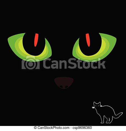Ojo de gato en rojo y verde en negro - csp9696360