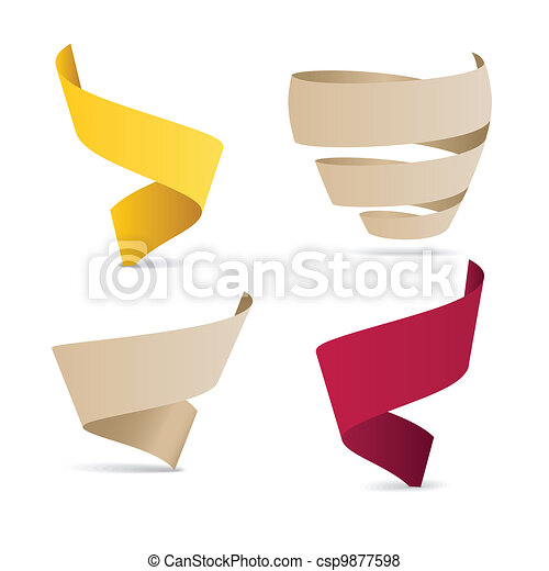 color origami ribbons - csp9877598