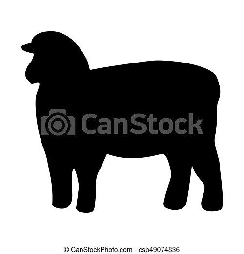 Sheep siluette color negro icono. - csp49074836