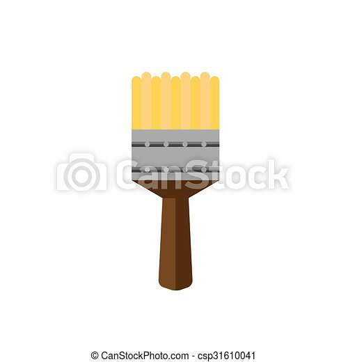 color paint brush on white background flat - csp31610041