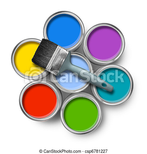 Color paint cans with brush - csp6781227