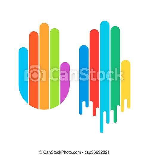 color paint hand print logo