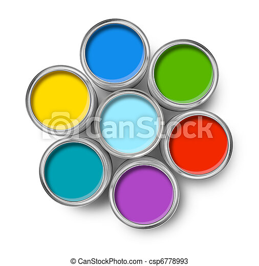 Color paint tin cans top - csp6778993