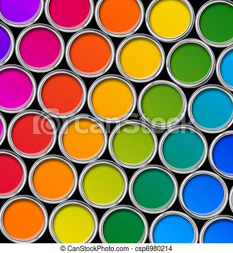 Color paint tin cans top view - csp6980214