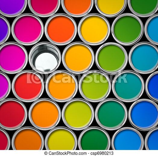 Color Paint Tin Cans Top View Paint Tin Color Chart Cans Opened
