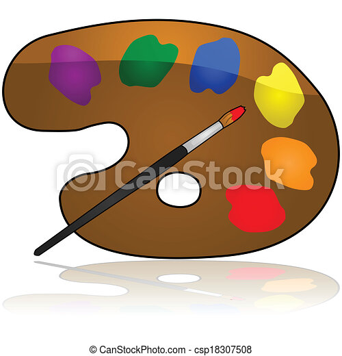 Glossy Illustration Of A Painters Color Palette Vector Clipart