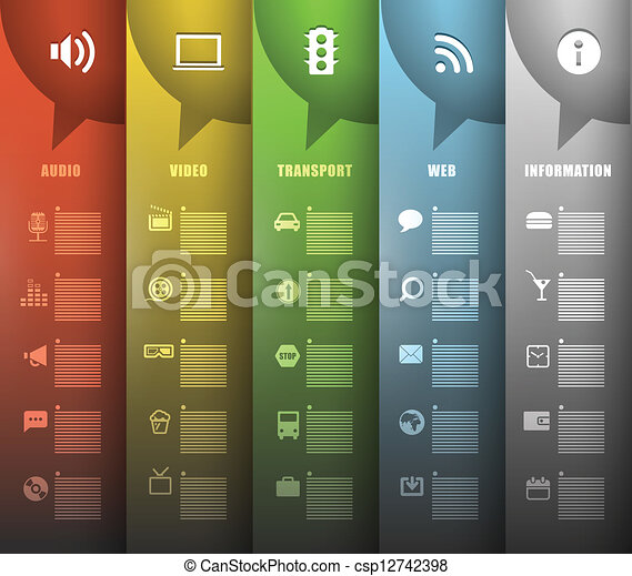 Color paper banners with different icons - csp12742398