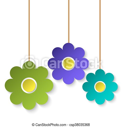 Color paper flowers summer floral background vector clip art color paper flowers csp38035368 mightylinksfo Gallery
