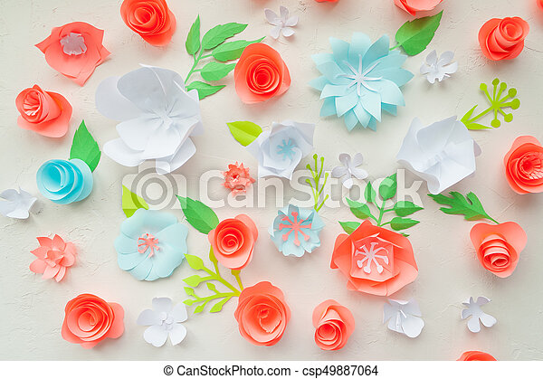 Color paper flowers on the white stucco flat lay nature concept color paper flowers on the white stucco flat lay nature concept cut from paper place for your text mightylinksfo