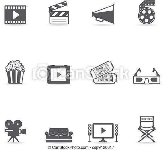 iconos de colores, películas - csp9128017