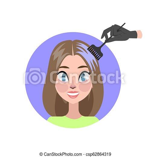 Pelo de mujer con tinte y cepillo - csp62864319