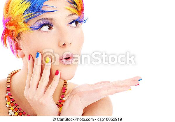 color, pelos, cara mujer - csp18052919