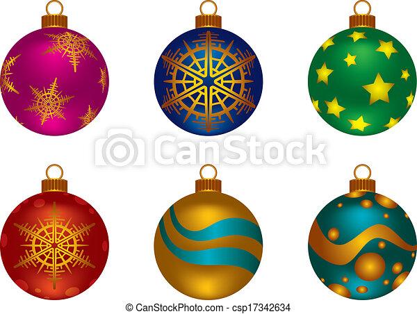 Color, pelotas, navidad. Diferente, conjunto, copos de nieve ...
