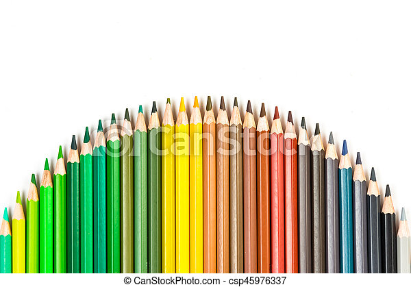 Color pencils isolated on the white background - csp45976337