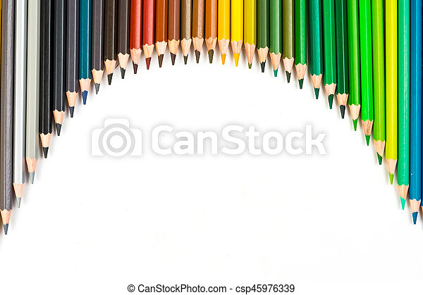 Color pencils isolated on the white background - csp45976339