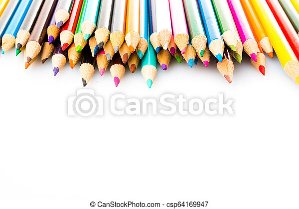 Color pencils isolated on white background - csp64169947