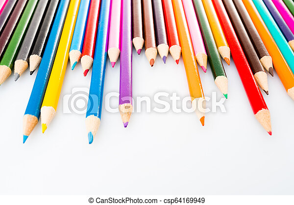 Color pencils isolated on white background - csp64169949