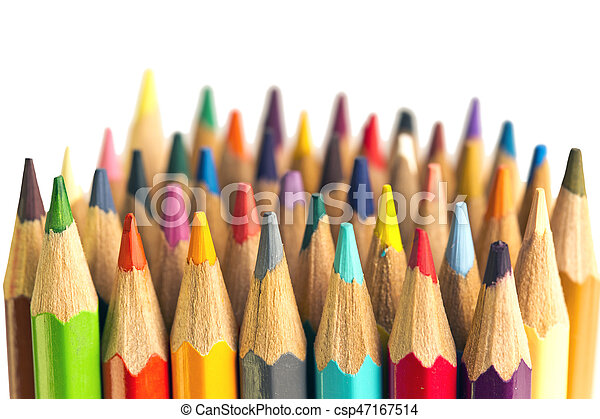 Color pencils on white background - csp47167514