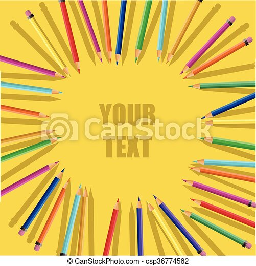 Color pencils on yellow background - csp36774582
