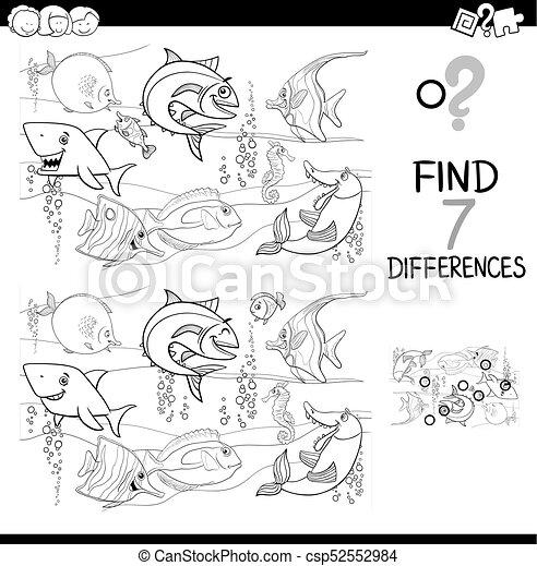 Color, pez, diferencias, libro, caracteres. Educativo, colorido ...