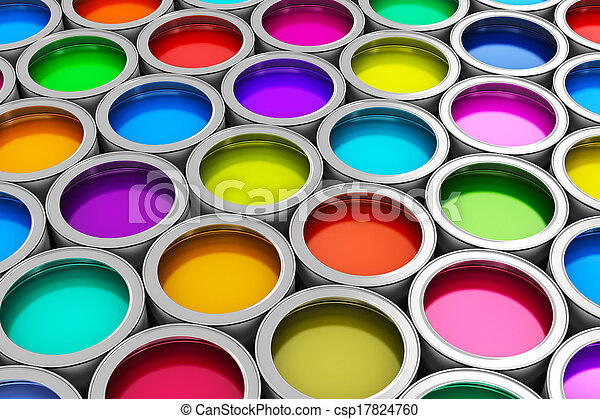 Latas de pintura de color - csp17824760
