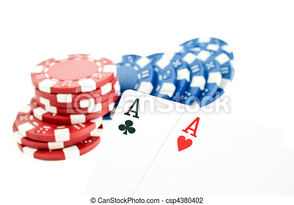 color poker chips and two aces cards - csp4380402