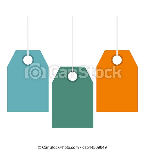 Color price tags icon, flat style - csp44509049
