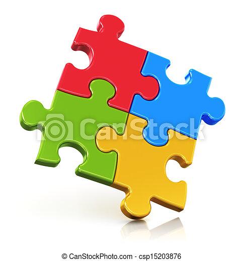 Color puzzle pieces - csp15203876