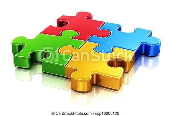 Color puzzle pieces - csp16005128