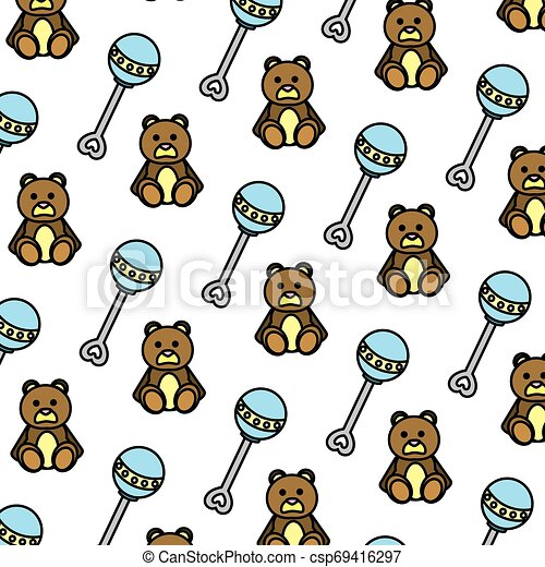 color rattle and teddy bear toys background - csp69416297