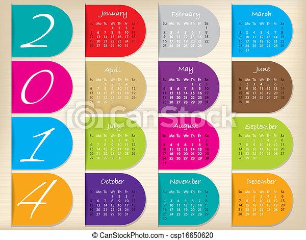 Color ribbon calendar design for 2014 - csp16650620