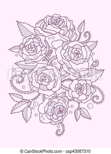 Flor Color Rosa Dibujo