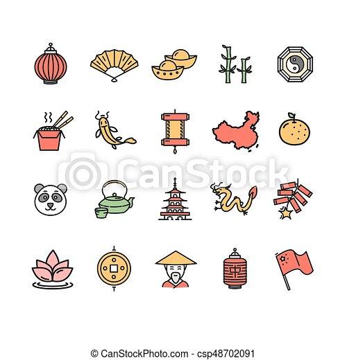 El símbolo de la línea de icono de color chino. Vector - csp48702091