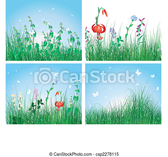 color set of grass backgrounds - csp2278115