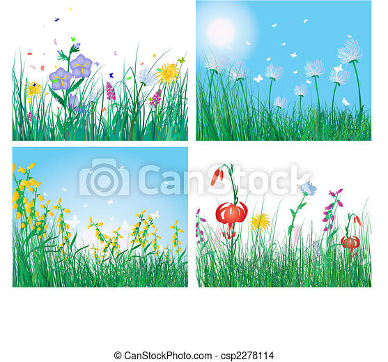 color set of grass backgrounds - csp2278114