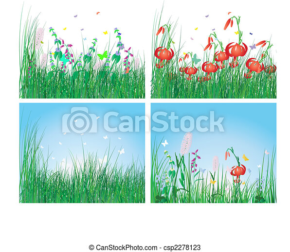 color set of grass backgrounds - csp2278123