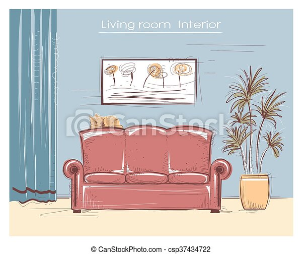 Color sketchy interior illustration of living room.vector... vector ...