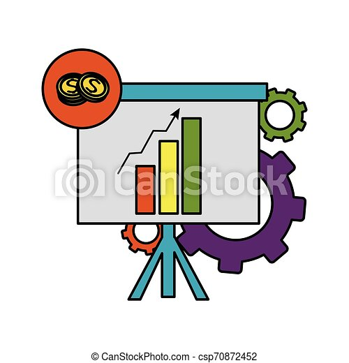 color statistics bar growing presentation with gears - csp70872452