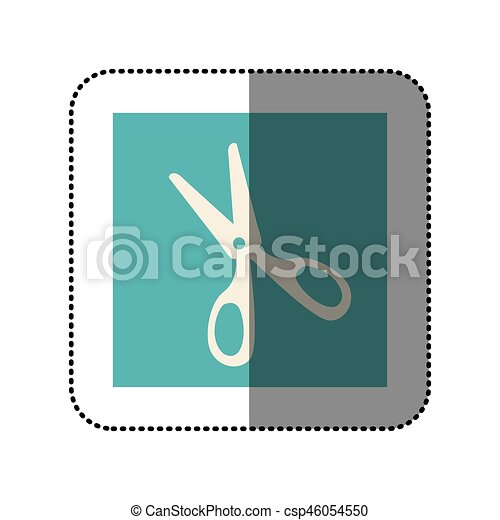 color sticker square with scissors icon - csp46054550