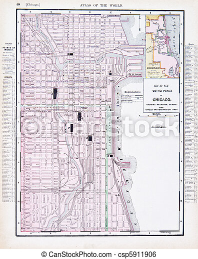 Color Street City Map of Chicago, Illinois, IL USA - csp5911906
