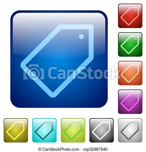 Color tag square buttons - csp32987940