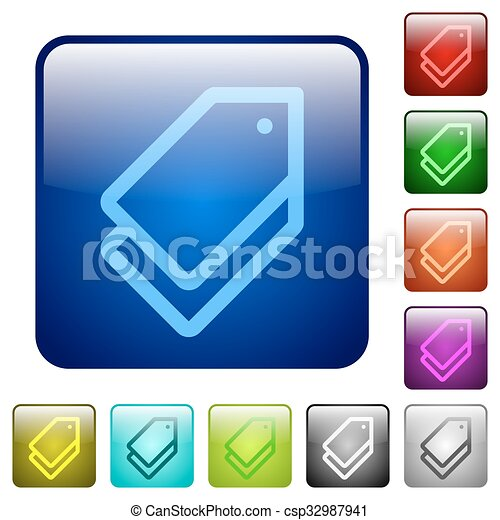 Color tags square buttons - csp32987941