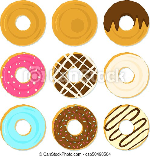 Color tasty fried donuts with different topping and strewing - csp50490504